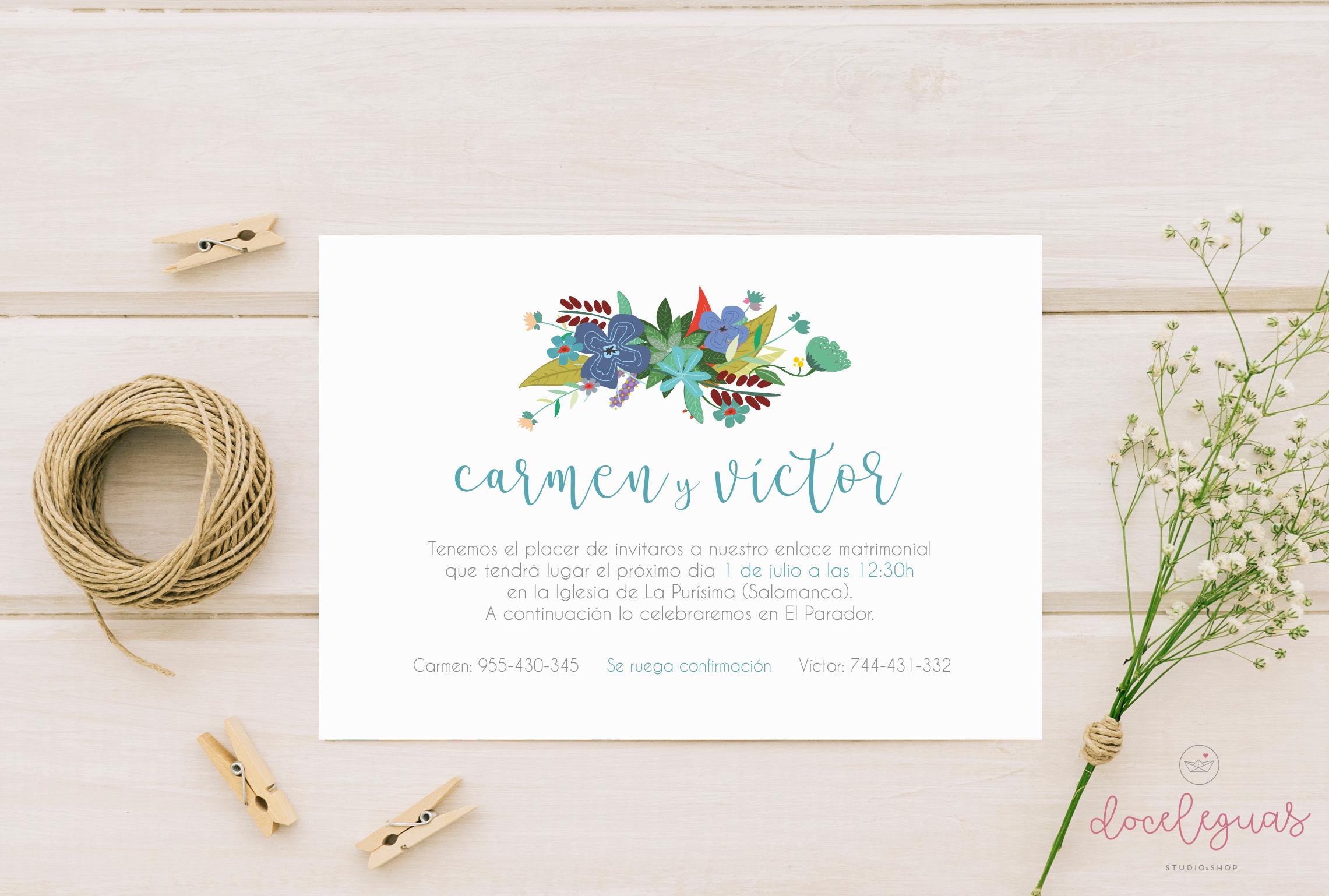 Invitaci n de boda floral doce leguas - Detalles para una boda perfecta ...