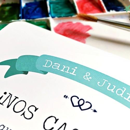 """Invitación de boda """"Banderín"""""""