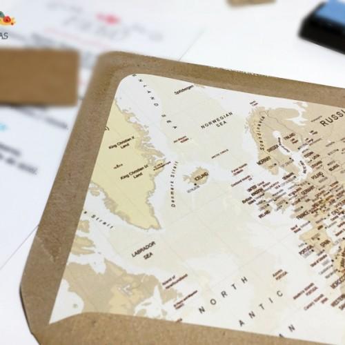"""Sobres forrados """"Mapa Vintage"""""""