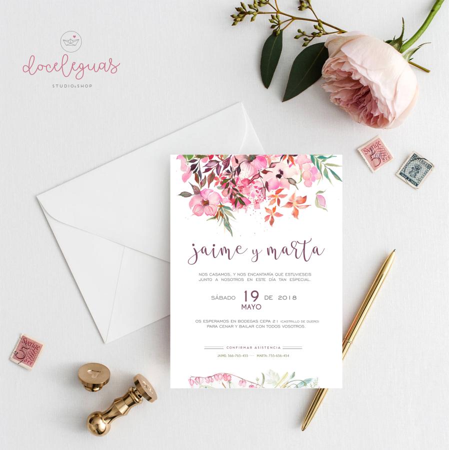 Invitacion de boda personalizada acuarela doce leguas - Tarjetas de invitacion de boda originales ...